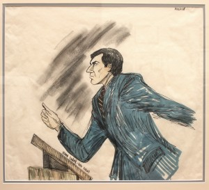 TV artist's depiction of Mr. Borlack in court.
